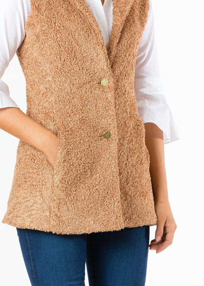 Pacific Vest in Brushed Fleece (Caramel) TH