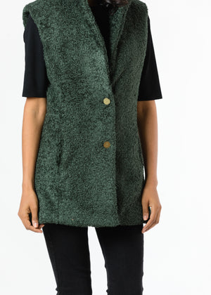 Pacific Vest in Brushed Fleece (Hunter Green) TH