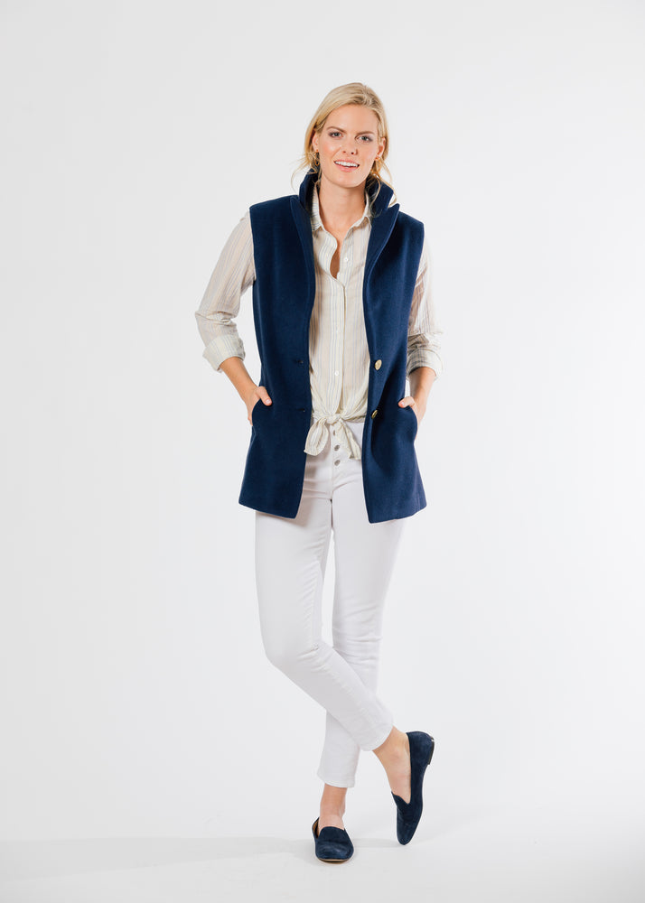Pacific Vest in Double Layer Vello Fleece (Navy) TH