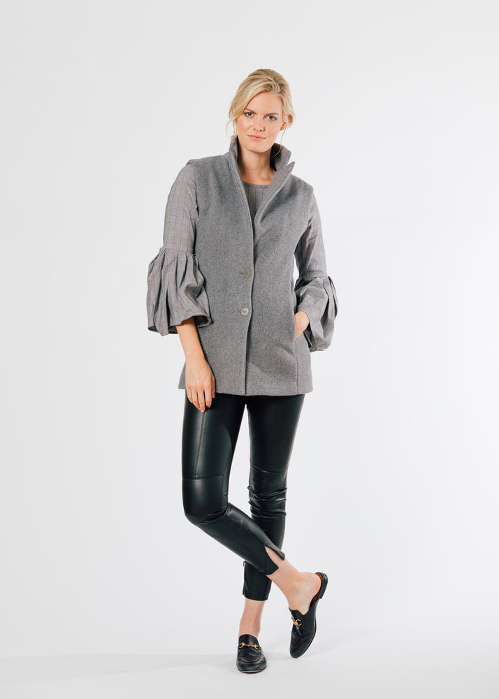 Pacific Vest in Double Layer Vello Fleece (Charcoal Grey)