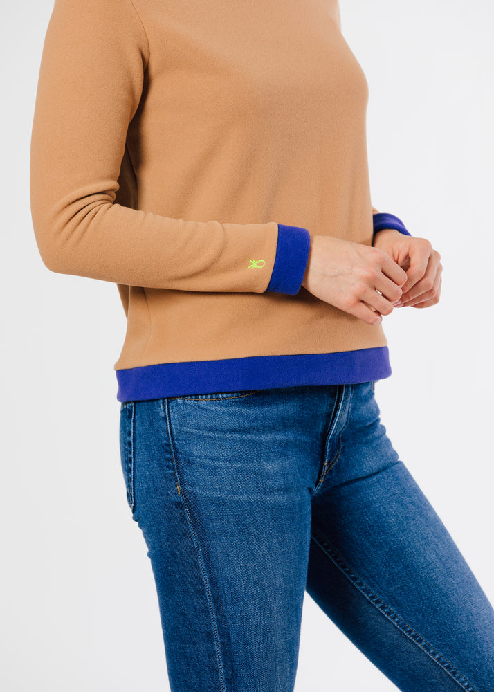 Load image into Gallery viewer, Park Slope Turtleneck with Color Block (Camel/Cobalt)