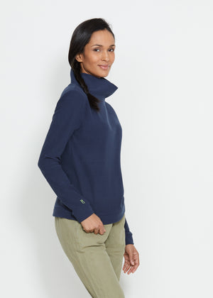 Load image into Gallery viewer, Park Slope Turtleneck in Terry Fleece (Navy) TH