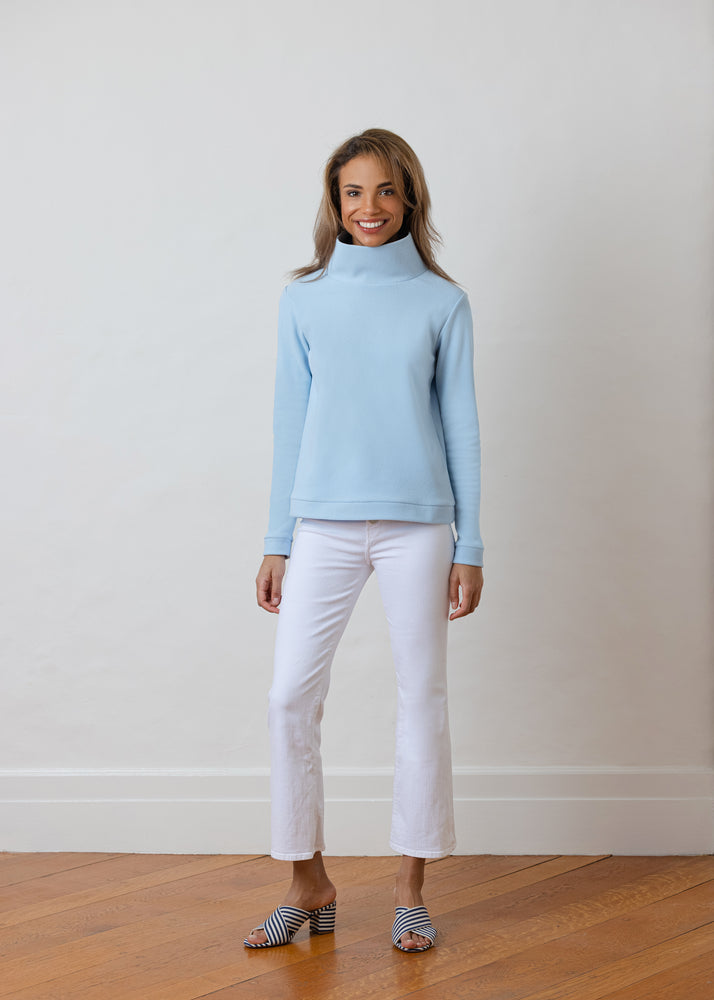 Park Slope Turtleneck in Terry Fleece (Ice Blue)