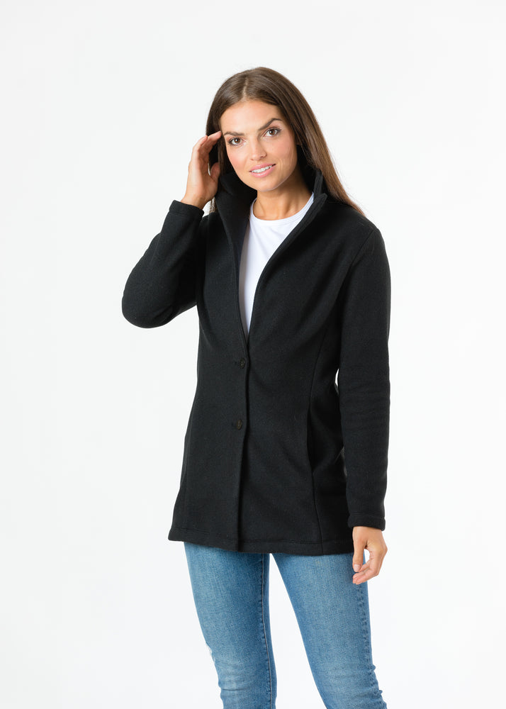 Load image into Gallery viewer, Remsen Blazer in Double Layer Vello Fleece (Black)