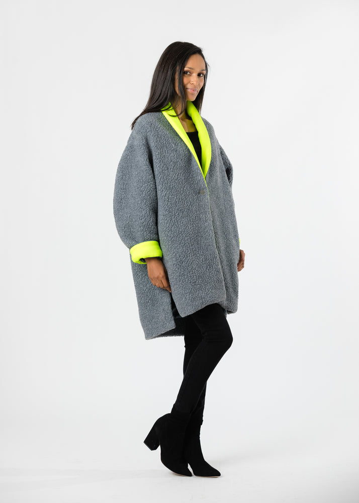 Rockaway Cocoon Coat in Shearling (Neon Yellow)