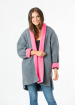 Rockaway Cocoon Coat in Shearling (Neon Pink)