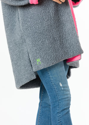 Rockaway Cocoon Coat in Shearling (Neon Pink) TH