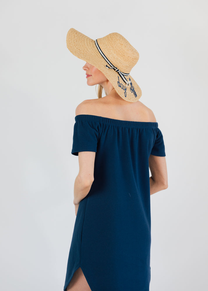 Sidney Summer Dress in Terry Fleece (Navy)