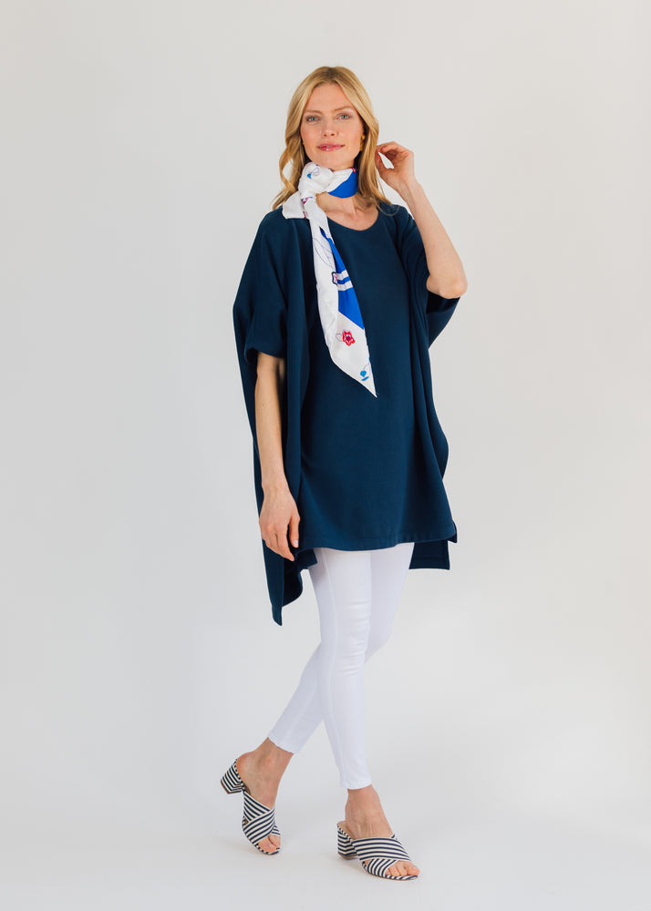 Sunnyside Cover Up in Terry Fleece (Navy)