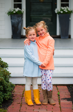 Greenbriar Girls Turtleneck in Terry Fleece (Ice Blue)