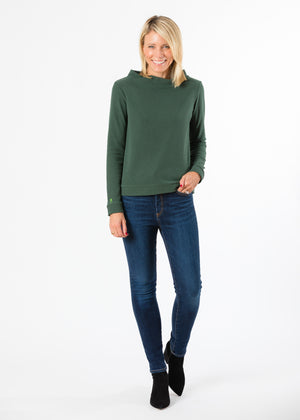 Brighton Boatneck Top in Terry Fleece (Hunter Green)
