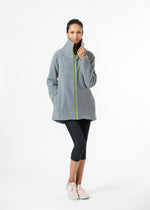 Union Street Jacket in Double Layer Vello Fleece with Neon Zipper (Charcoal Grey)