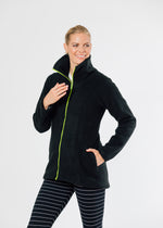 Union Street Jacket in Double Layer Vello Fleece with Neon Zipper (Black)