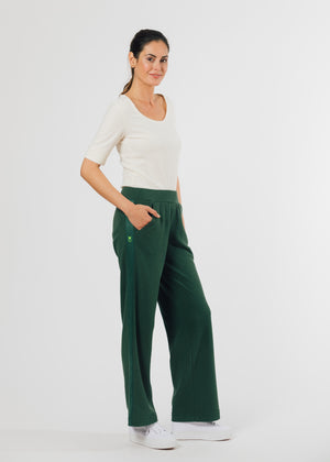 Waverly Wide Leg Pants in Terry Fleece (Hunter Green)
