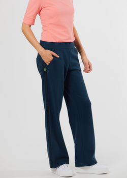 Waverly Wide Leg Pants in Terry Fleece (Navy)