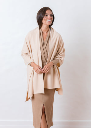 Bedford Blanket Scarf in Terry Fleece (Natural Blush)