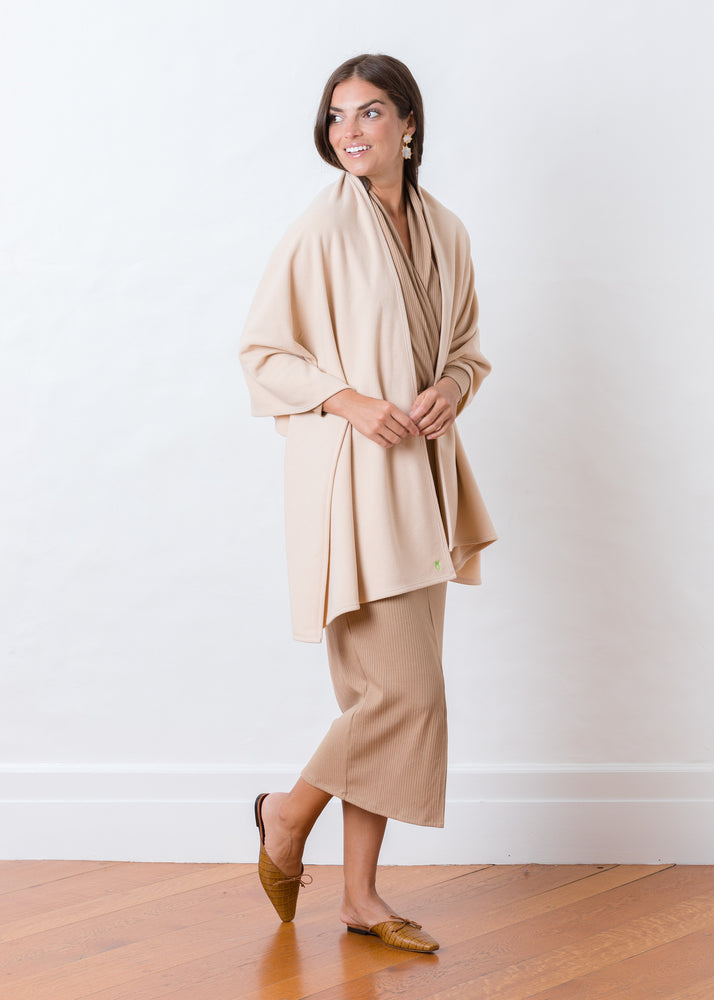 Bedford Blanket Scarf in Terry Fleece (Natural Blush) TH