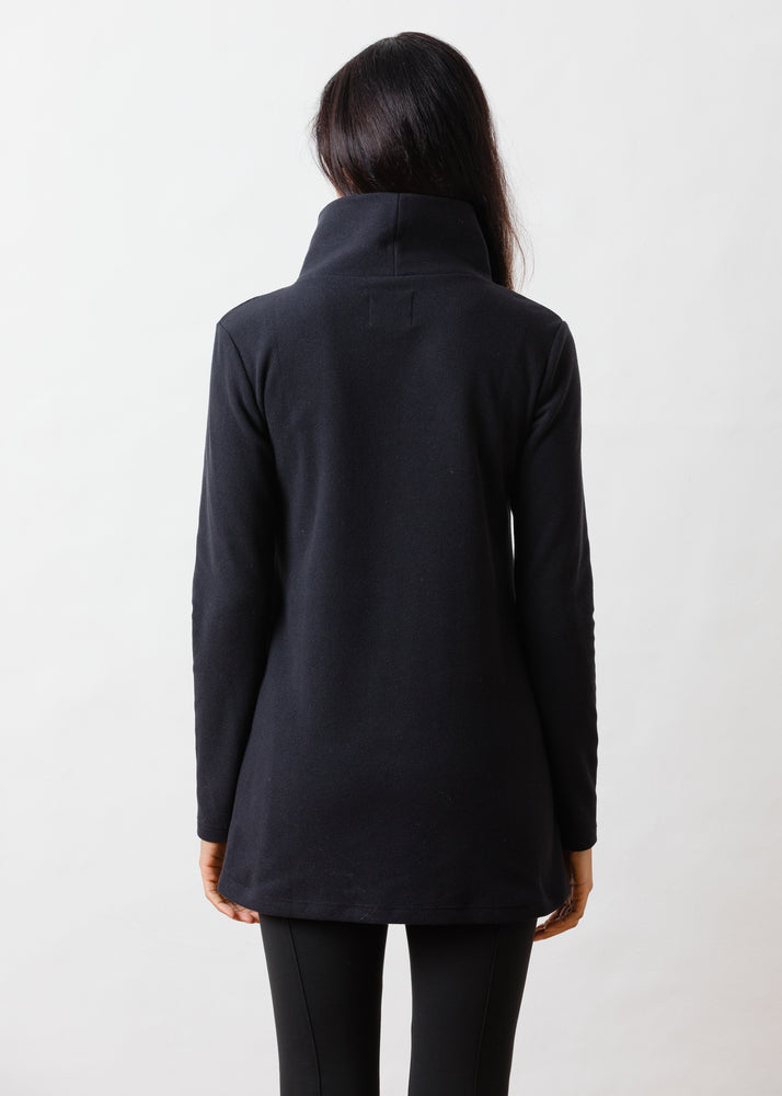 Cobble Hill Turtleneck in Terry Fleece (Black)