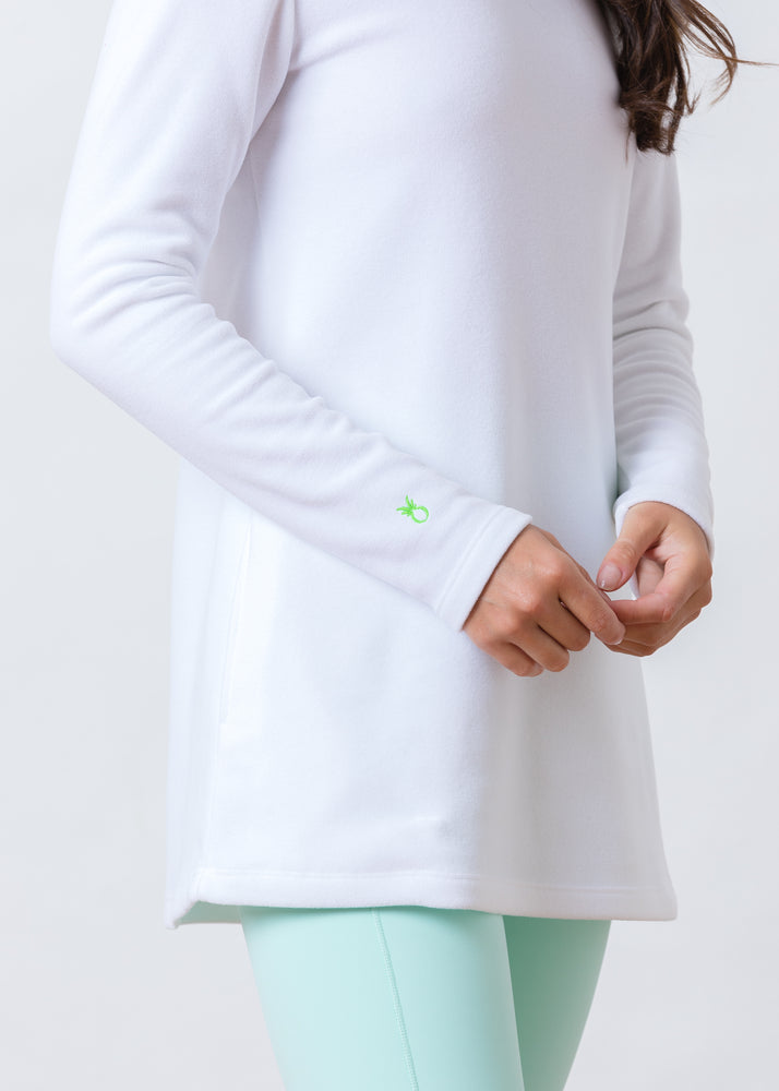 Cobble Hill Turtleneck in Terry Fleece (White) TH