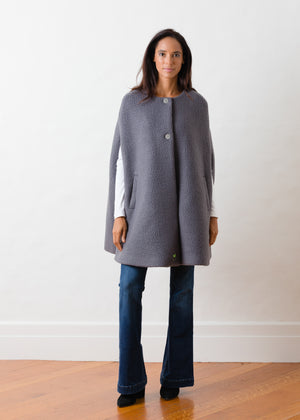TH - Crescent Cape in Shearling (Steel Grey)