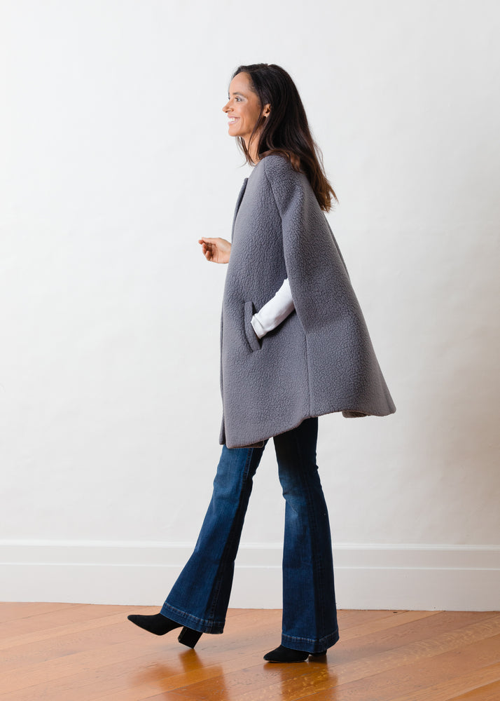 Crescent Cape in Shearling (Steel Grey)