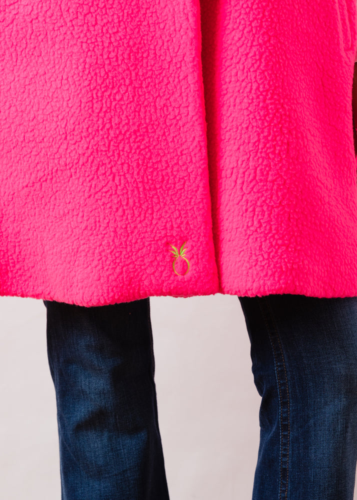 Crescent Cape in Shearling (Neon Pink)