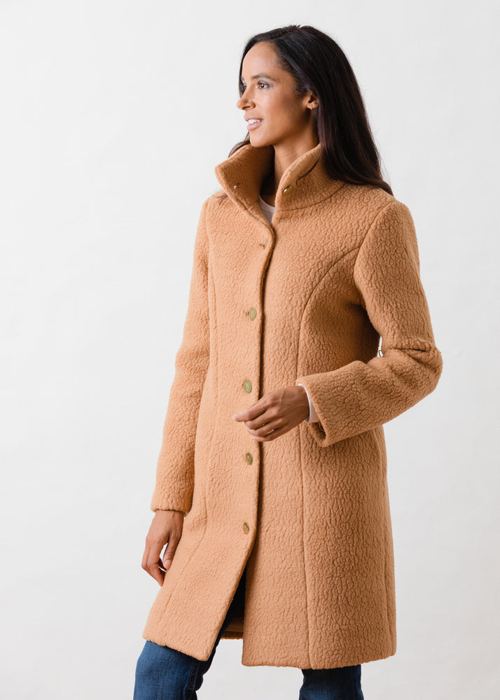 Load image into Gallery viewer, Fleet St Funnel Coat in Shearling (Camel)