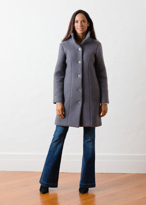 Fleet St Funnel Coat in Shearling (Steel Grey)