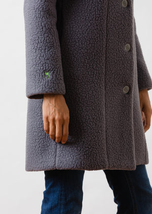 Load image into Gallery viewer, TH - Fleet St Funnel Coat in Shearling (Steel Grey)