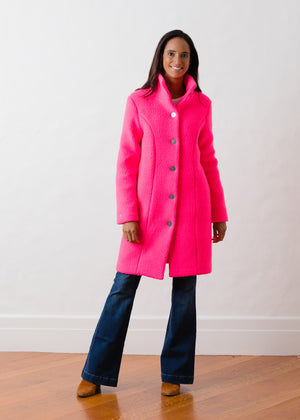 Load image into Gallery viewer, Fleet St Funnel Coat in Shearling (Neon Pink)