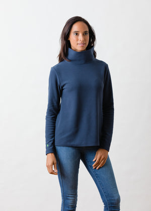 Load image into Gallery viewer, TH - Greenpoint Turtleneck in Terry Fleece (Navy)