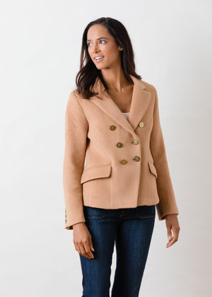Mead Point Blazer in Double Layer Vello Fleece (Camel)