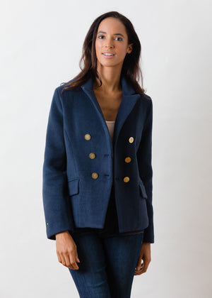 Mead Point Blazer in Double Layer Vello Fleece with Gold Buttons (Navy)
