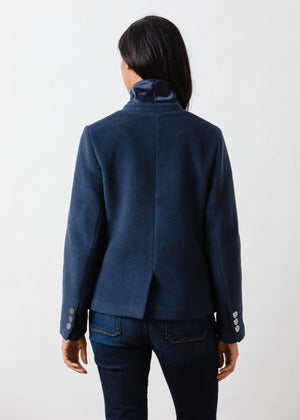 Mead Point Blazer in Double Layer Vello Fleece with Silver Buttons (Navy)