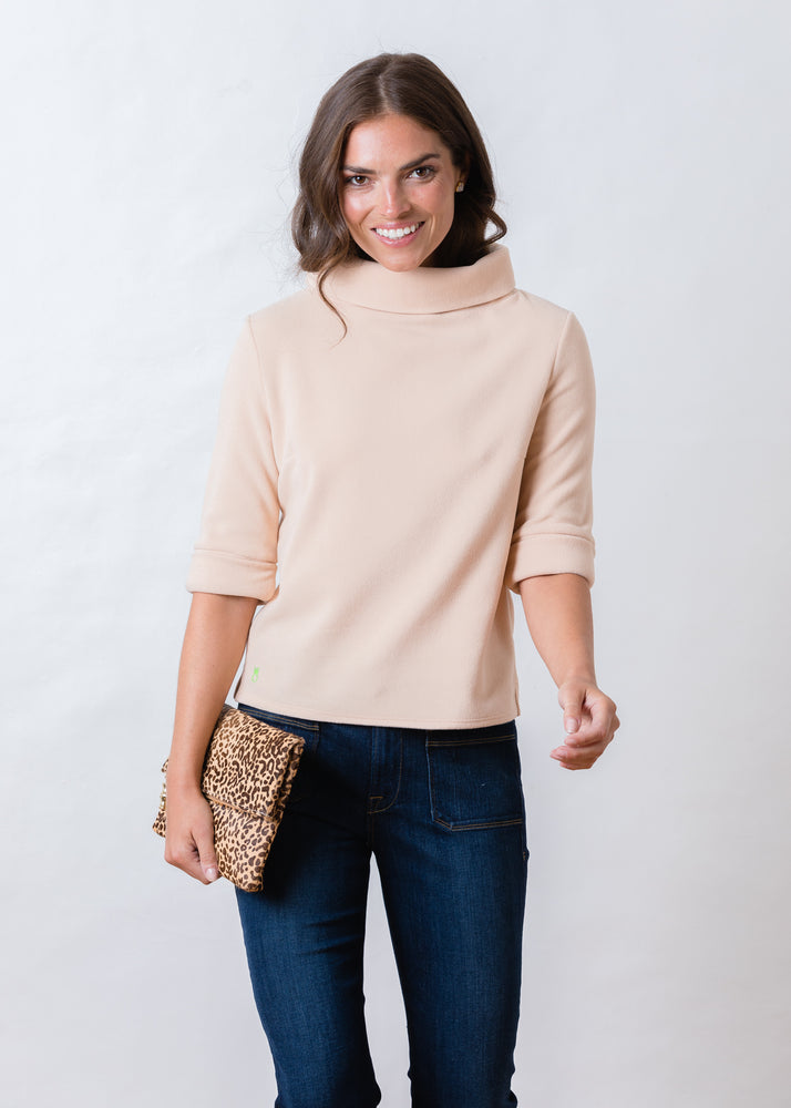 Orchard St Boatneck in Vello Fleece (Natural Blush)