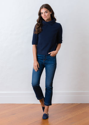 Load image into Gallery viewer, Orchard St Boatneck in Vello Fleece (Navy)