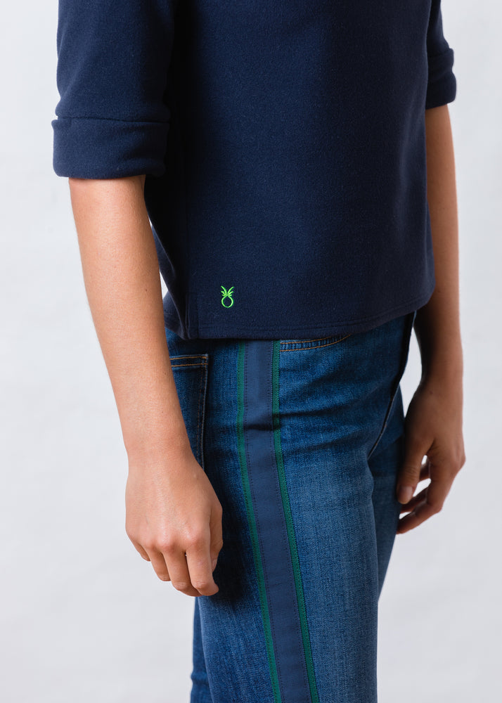 Orchard St Boatneck in Vello Fleece (Navy)