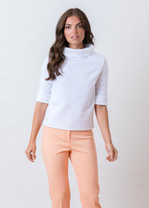 Orchard St Boatneck in Vello Fleece (White)