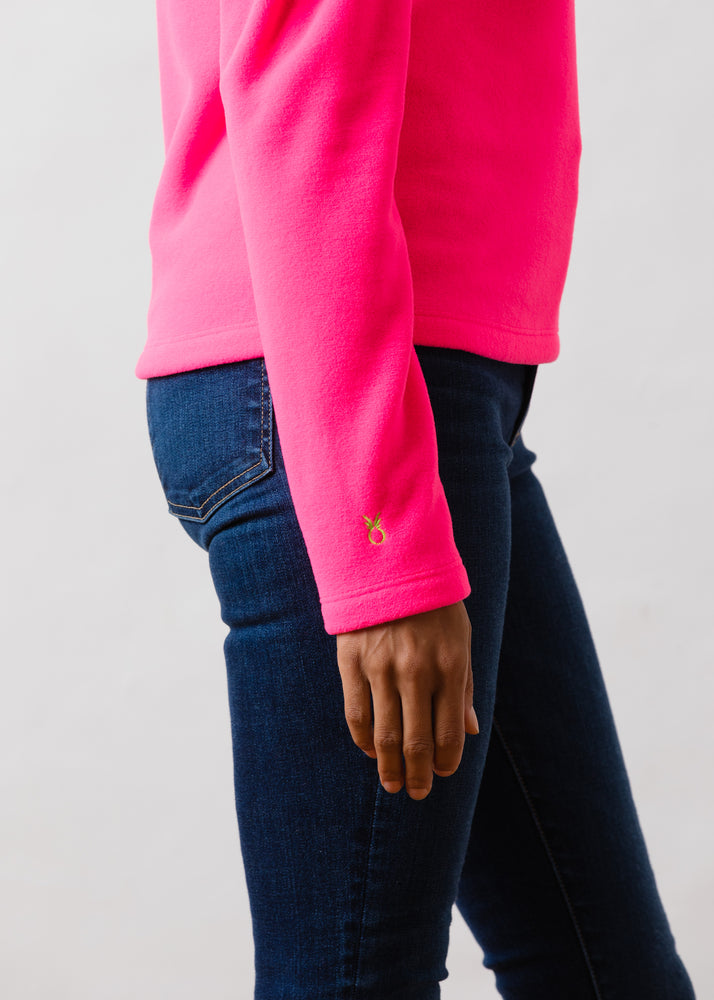 TH - Palmer Puff Sleeve Turtleneck in Vello Fleece (Neon Pink)
