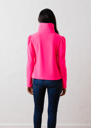 Load image into Gallery viewer, Palmer Puff Sleeve Turtleneck in Vello Fleece (Neon Pink)