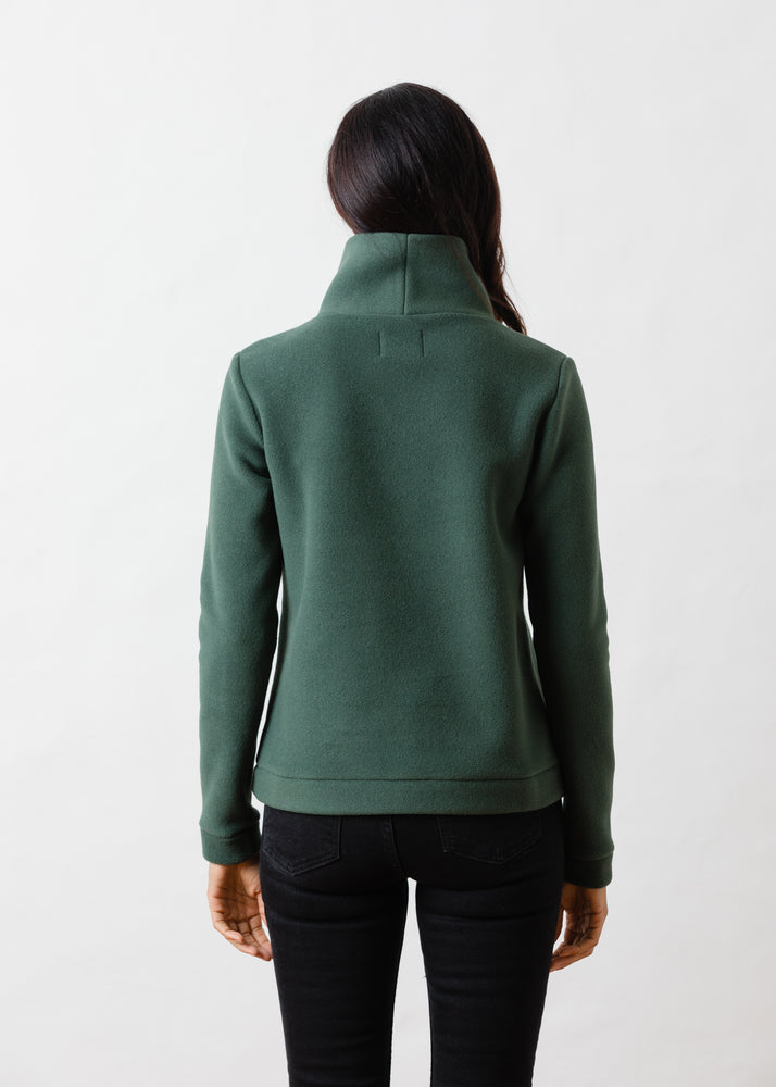 Load image into Gallery viewer, Park Slope Turtleneck in Double Layer Vello Fleece (Hunter Green)