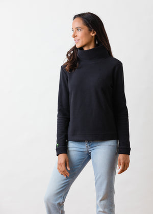Park Slope Turtleneck in Terry Fleece (Black)