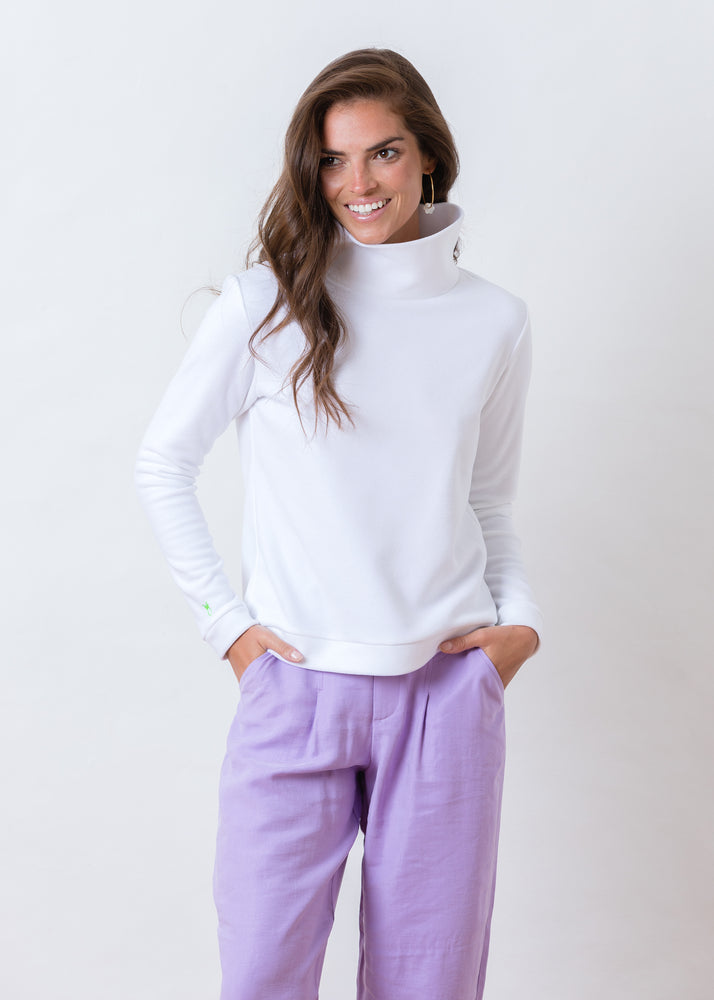 Park Slope Turtleneck in Terry Fleece (White) TH