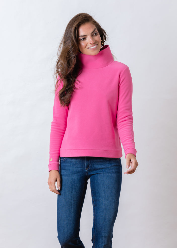 Park Slope Turtleneck in Terry Fleece (Bubble Gum Pink) TH
