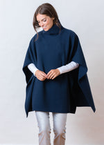 Parsonage Poncho in Vello Fleece (Navy)