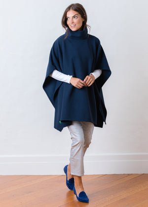 Load image into Gallery viewer, Parsonage Poncho in Vello Fleece (Navy)