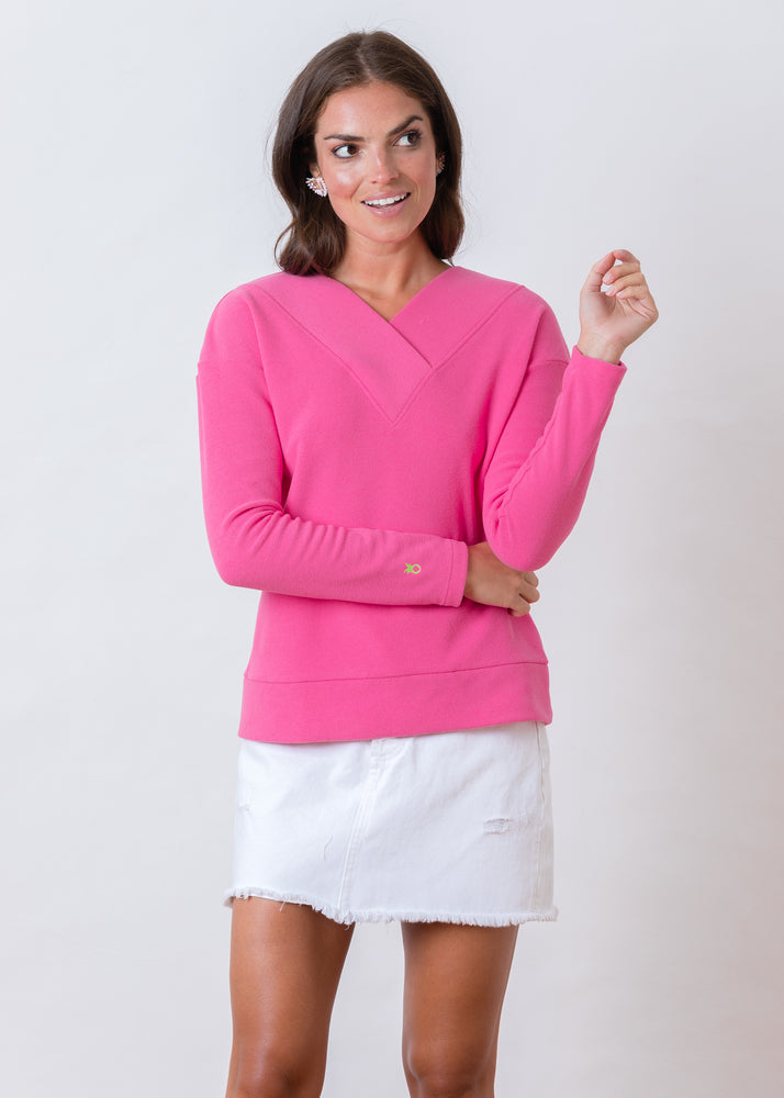 Perryridge Pullover in Terry Fleece (Bubble Gum Pink)