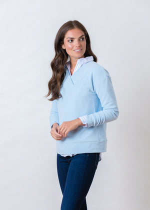 Perryridge Pullover in Terry Fleece (Ice Blue)