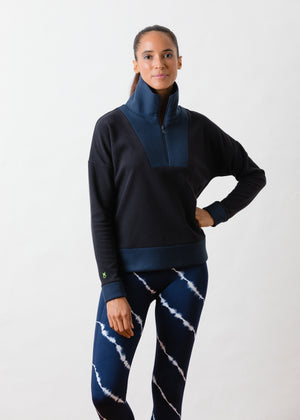 Load image into Gallery viewer, TH - Putnam Pullover in Terry Fleece (Black / Navy)