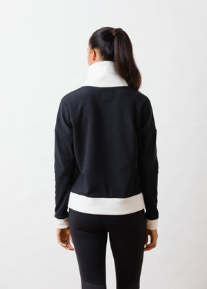 Putnam Pullover in Terry Fleece (Black / Off White)